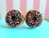 Chocolate Donuts with Rainbow Sprinkles - Earring Studs