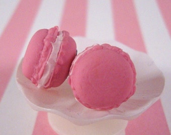 French Macaron Earring Studs, Pink