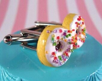 White Chocolate Rainbow Sprinkled Donut Cufflinks
