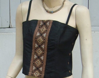 100 percent Silk Crop spaghetti tank top with hand woven embroidery
