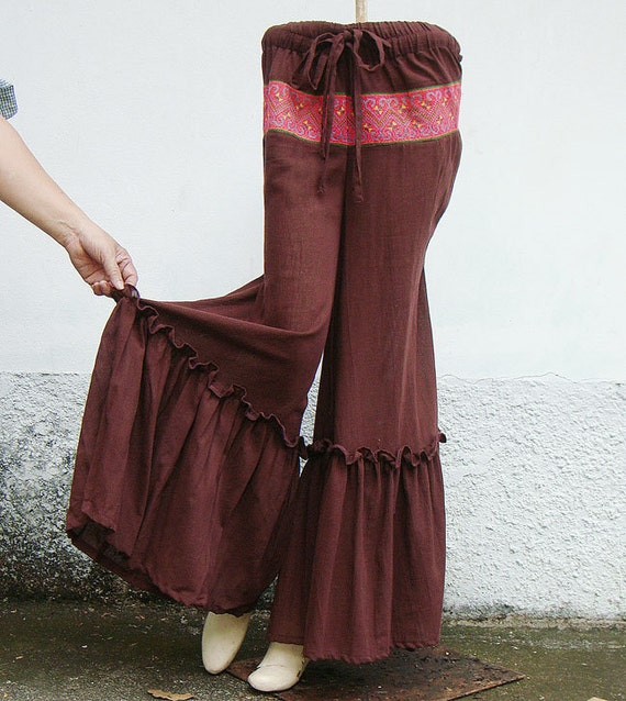 100 percent cotton wide leg pants in red brown for Women