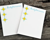 Personalized Notepads / Note Pads/ Personalized Notebook / Personalized Notepads Set of 2 Retro Diamond Design