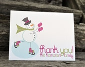 Personalized Note Cards Snowman Stationery