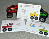 Kids Monster Truck Valentine's Day Cards - Truck Valentines Day Cards -  Classroom Cards for Kids Set of 24 and 2 Teacher Cards