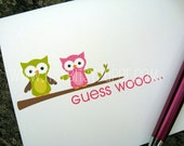 Personalized Note Cards Whimsical Owls Set of Stationery