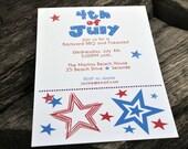 4th of July Invitations-Big Stars and Dots Design