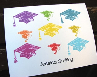 Colorful Graduation Personalized Notecards / Graduation Thank You Notes / Class of 2014 Thank You Notes / Graduation Stationery