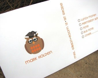 Personalized School Envelope Brown and Orange Owl for Money and Notes