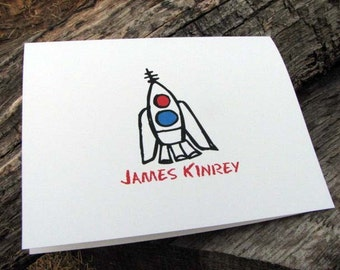 Personalized Note Cards - Personalized Stationery - Stationary Set - Personalized Cards - Personalized Notes - Boys Rocket Ship Stationery