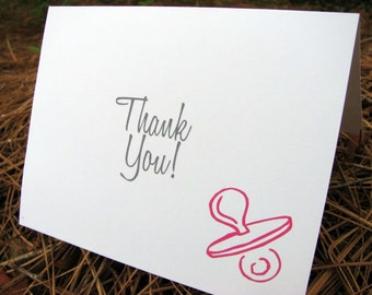 Baby Thank You Note Cards Girls Pacifier