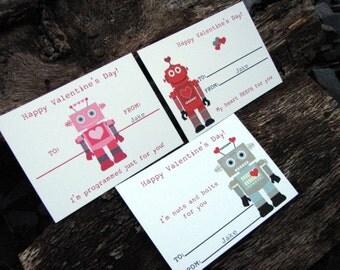 Kids Robot Valentine's Day Cards - Classroom Robot Cards - Valentines Day Cards for Kids Set of 24 and 2 Teacher Cards
