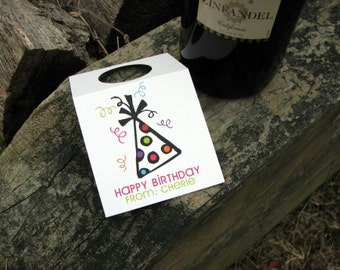 Personalized Wine Tags - Wine Tags - Wine Bottle Charm - Wine Tag - Birthday Wine Tags - Happy Birthday Tag - Birthday Tags