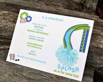 Boys Pool Party Invitation / Pool Party Invitation / Pool Party Invite / Summer Party / Boy Birthday / Pool Party Birthday Party Invitation