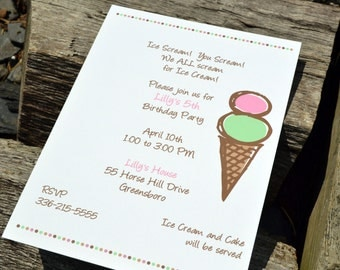 Ice Cream Party Invitation Pink and Brown Ice Cream Cone