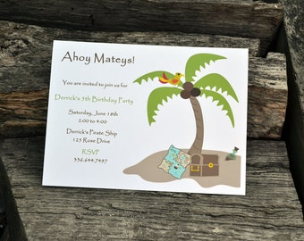 Pirate Birthday Party Invitation Personalized