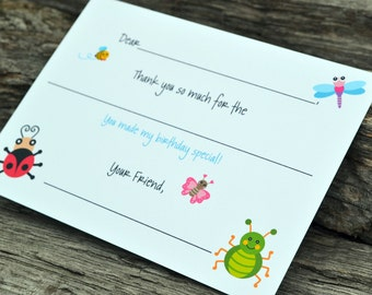 Kids Thank You Notes Fill In The Blank Lots of Bugs Design