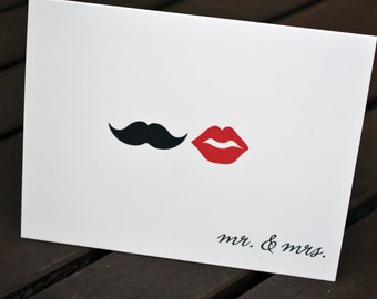 Wedding Thank You Cards / Bridal Shower Thank You Notes / Thank You Cards / Lips and Mustache / Mr. and Mrs. Note - Mustache and Red Lips