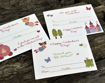 Princess Valentine's Day Cards - Classroom Valentine's Cards - Cards for Kids Set of 24 and 2 Teacher Cards