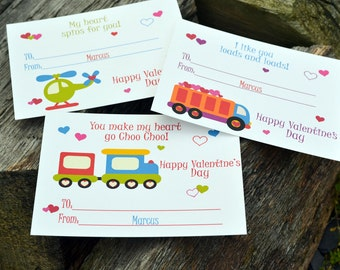Kids Valentines Cards - Personalized Trucks Valentine's Day Classroom Cards for Kids Set of 24 and 2 Teacher Cards