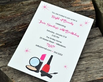 Girls Night Out Party Invitation - Makeup Party Invitation - Birthday Party Invitation - Girls Night Invite - Bachelorette Party Invitation