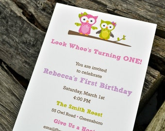 Owl Birthday Party Invitations / Birthday Party Invites / Party Invitations / Owl Party / Owls Party Invitations / Guess Whoo