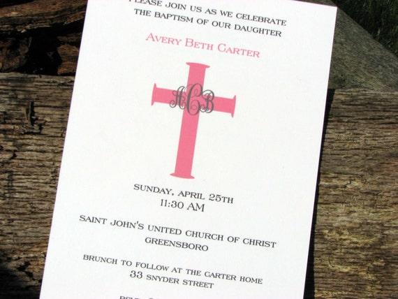 Girls Baptism Invitation Pink Cross Personalized Invitation