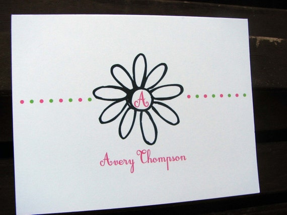 Personalized Flower Note Cards / Thank You Notes / Personalized Stationery / Personalized Notecards / Stationary / Fun Flower Stationery