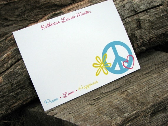 Personalized Flat Note Cards / Personalized Notecards / Personalized Stationery / Thank You Notes / Peace, Love, Happiness Stationery