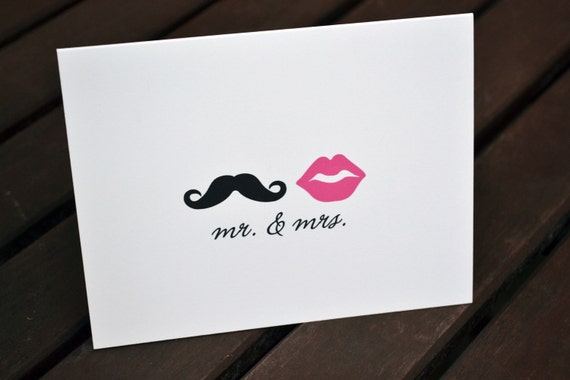 Wedding Thank You Cards / Bridal Shower Thank You Notes / Thank You Cards / Lips and Mustache / Mr. and Mrs. Note - Mustache and Pink Lips