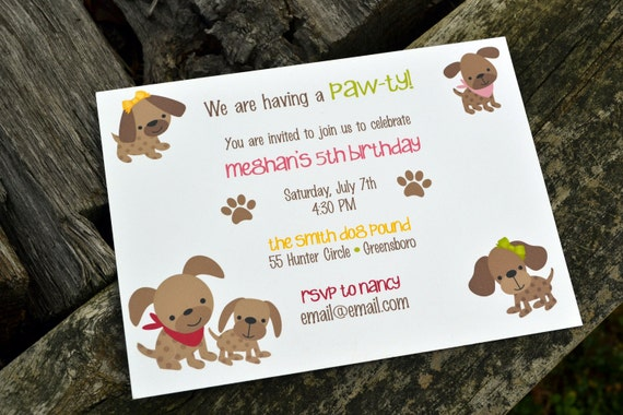 Kids Puppy Dog Party Invitations / Kids Birthday Party