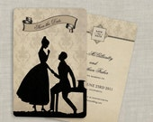 Silhouette Save the Date Wedding Invitations Vintage Set of 100 Custom for You