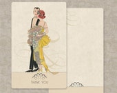 Wedding Thank You Cards set of 10 Vintage Inspired Deco