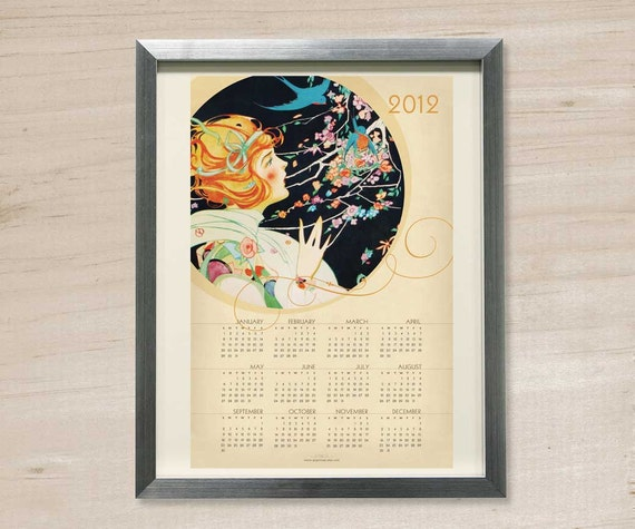 2012 Blue Bird Poster Calendar - Vintage Theme 12 x 18 Size