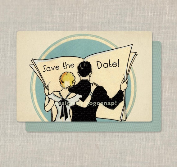 100 Art Deco Save the Date Cards Wedding Invitations Custom for you Deco Newspaper Couple