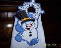 Embroidered Hanging Kitchen Hand Towel - Holiday Snowman