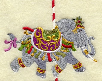 Christmas Carousel Elephant Embroidered on WHITE Cotton Towel or Quilt Block Square