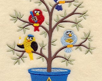 Chanukah Birds in a Tree (Tweet) Embroidered on WHITE Kitchen or Hand Towel or Quilt Block Square