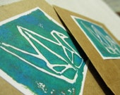 Paper Crane Recycled  Note Cards