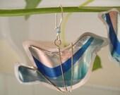 Blue Bird Recycled Soda Can Earrings