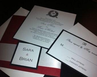 Red/Ivory/Black Handmade wedding invitations