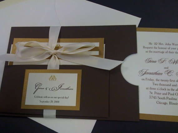 Cream And Gold Wedding Invitations: Brown Gold And Cream Handmade Wedding Invitation