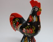 Black Traditional Swedish Wooden Dala Rooster Vintage