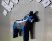 Small Blue Dala Horse Fridge Magnet