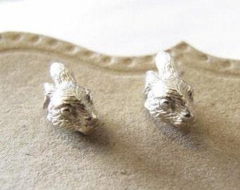 Sterling Silver Bunny Head Earrings