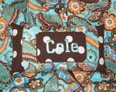 Shopping Cart Cover Reversible Blue Paisley Minky Free Personalization