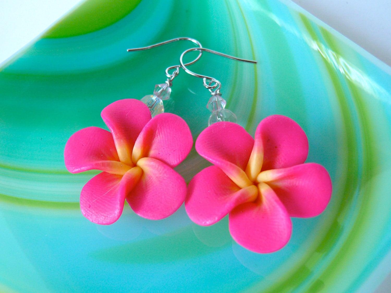 Pink Plumeria Earrings Hawaiian Jewelry By MermaidTearsDesigns