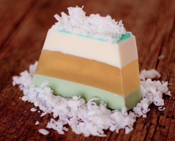 CUSTOM LISTING for MEGAN Coconut and Lemongrass, Hand-Crafted Soap Island Yellow Green Glycerin Unisex Summer