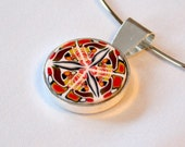 Red, Orange, Yellow, White and Black Kaleidoscope Pendant FREE SHIPPING