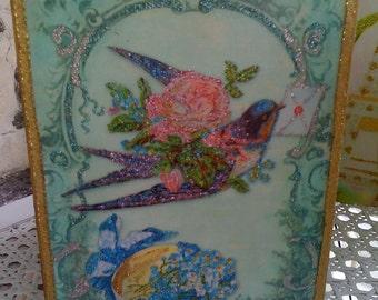 Decoupage Sparkled Boutique Tissue Box Cover