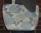 Light blue floral medium tote  -  STORE CLOSING. Everything discounted..